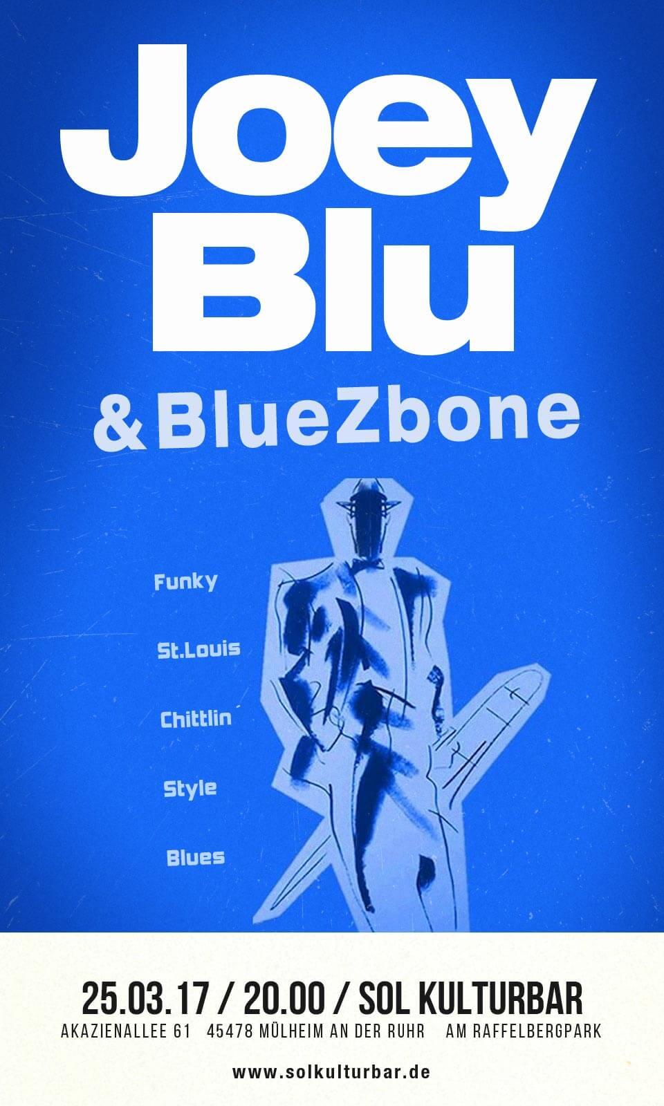 Joey Blu & BlueZbone (Joseph Bowie) live in der Sol Kulturbar, März 2017