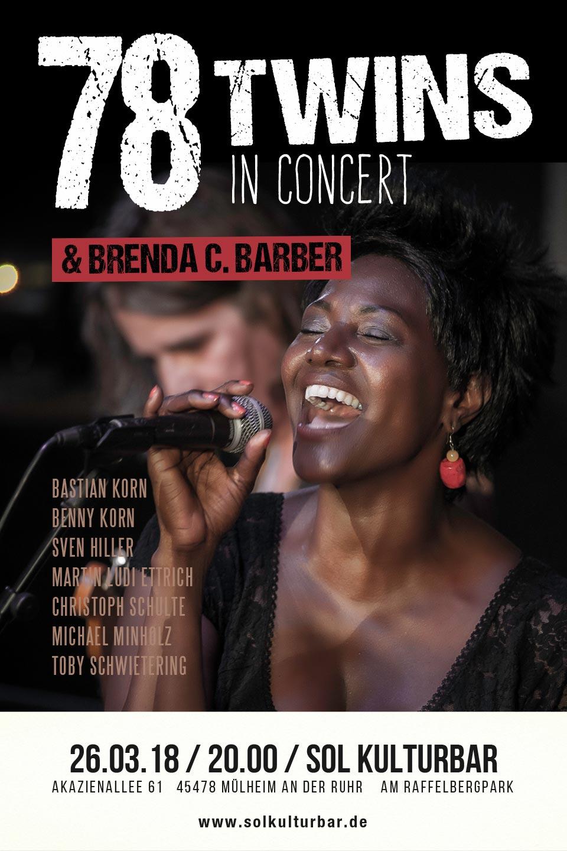März 2018, 78 Twins feat Brenda C. Barber (USA) in concert, Sol Kulturbar